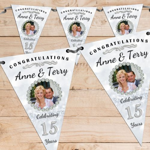 Personalised Crystal 15th Wedding Anniversary Celebration PHOTO Flag Banner Bunting - N67